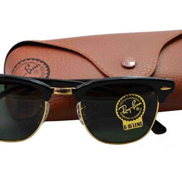 Sunglasses Ray-ban RB3016 CLUBMASTER W0365 BLACK/GOLD GLASS G-15 Cal.51