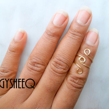 Above Knuckle Ring, Loop style Adjustable Finger Ring, 2 Gold or Silver Plated,Stackable rings, Edgysheeq statement rings for everyday Flair