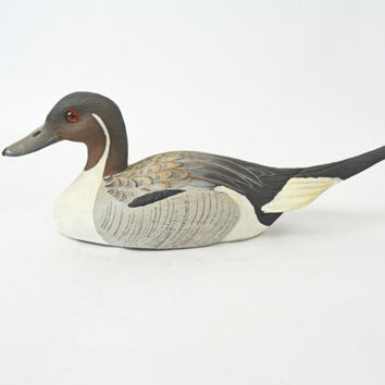 Vintage Handmade Duck, Hand Painted Duck, Grey Pintail Duck, Hunting Decoration, Duck Decoy, Gift for Him, Cabin Décor