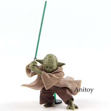 Star Wars Force Episode 1 2 3 4 5 Anime  Jedi Knight Yoda with Lightsaber Mini PVC Action Figure Collectible Model Toy 6cm AT_72_6