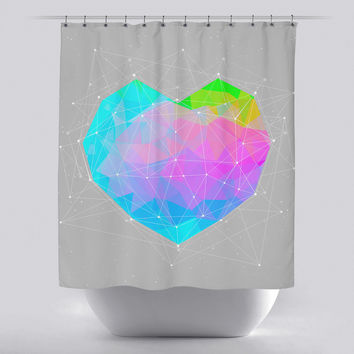 Unique Shower Curtain - Dots will Connect Heart by Soaring Anchor Designs