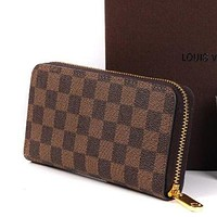 LV Waller Louis Vuitton 2018 Trendy Women's High Quality Leather Zipper Wallet Coffee Tartan
