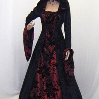 gothic vampire medieval renaissance hooded dress