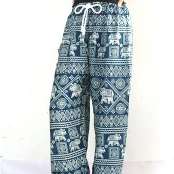 Green Elephant Pants Comfortable wear Teal Stamp Printed boho pants Harem pants/beach pants/Aladdin Pants/boho pants/Elephant Print design