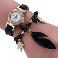 fashion Women's Bracelet Watches Feather Weave Wrap Around Crystal Synthetic Chain luxury  watch women relogio TONSEE