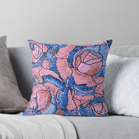'Blush Blue Roses Flowers Abstract Illustration ' Throw Pillow by oursunnycdays