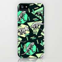 90's Dinosaur Skeleton Neon Pattern iPhone & iPod Case by Chobopop