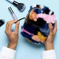 Monki Multi Faux Fur Make Up Bag at asos.com