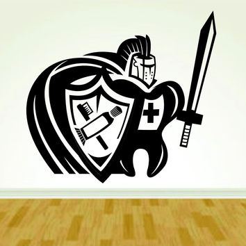 Tooth and Knight Dentist Dentistry Smile Sign Version 108 Decal Sticker Wall