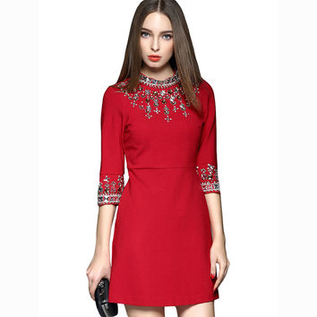 Women Autumn Winter Dress 2016 New Luxury Elegant Vintage Diamonds Half Sleeve O-Neck Solid Color Slim Mini Dresses WQL3393
