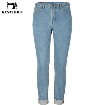 Retro High Waist Denim Jeans Women Bleached Ripped Straight Loose Ladies Jeans Trousers Street Fashion Harem Pants