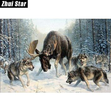 ac NOOW2 wolves and deer 40x60 3D DIY Diamond Painting 100% full square drill Cross Stitch Embroidery rhinestones Home Decoration