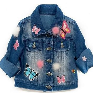 Baby Sara 2017 Fall Denim Jacket W/Patches Embrodiery And Fuzzy Trim
