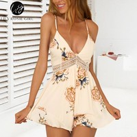 Lily Rosie Girl Chiffon Bow Print Floral Playsuit Spaghetti Strap V Neck Sexy Playsuit Hollow Out Short Women Jumpsuit Rompers