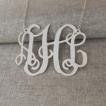1 inch Small Monogram Necklace,Silver Monogram Necklace,3 Initials Necklace Charm,Personalized Name Necklace,Bridesmaids Gift