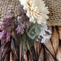 Handmade Wedding Corsages - Sola China Flower Corsages, Green Leaf and Lace Corsages, Dried Oregano Corsages, Country Rustic