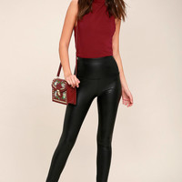 Fellini Black Vegan Leather Leggings