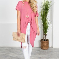 Brick Mauve Knot Top