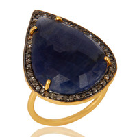 18K Yellow Gold Sterling Silver Pave Diamond And Blue Sapphire Stackable Ring