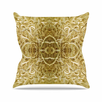 "Pia Schneider ""Cornfield Pattern,Ocker Gold"" Yellow Pattern Outdoor Throw Pillow"