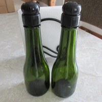Salt and Pepper shakers, upcycled champagene bottles, outdoor kitchen, picnic shaker, table decor
