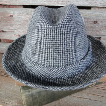 Vintage Grey Mens Fedora, Mid Century men's hat, vintage Adam of New York tweed fedora SIZE Medium, 1950s mens wool fedora with feathers