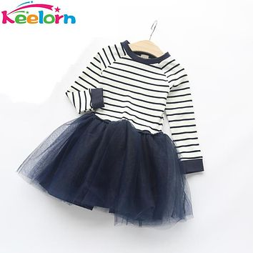 Girls Lace Dress  Spring Autumn Brand Kids clothing Long Sleeve Striped Mesh Design Dress for Girls Clothes