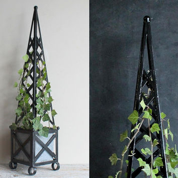 Vintage Topiary Tall Black Obelisk Trellis Wrought Iron Garden Planter with Tin Insert  24 Inches High