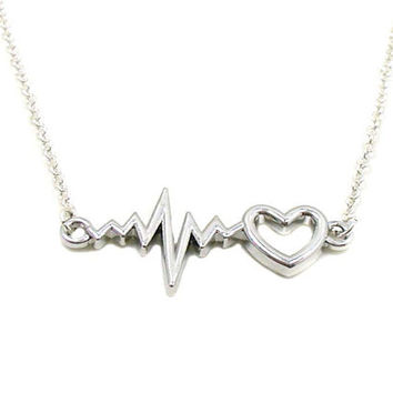 Heartbeat Necklace, EKG Necklace, Charm Jewelry, EKG With Heartbeat Charm, Heartbeat Jewelry, Silver Heartbeat, Jewelry Gift, Gift Under 20