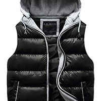 Fashion Mens Warm Feather Thick Waistcoat Vest Puffer Jacket US S Black