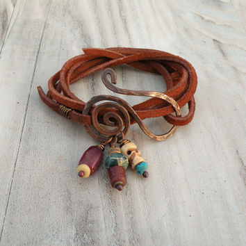Leather Wrap Bracelet, Brown Suede, Hammered Copper, Bone Skull, African Trade, Stones