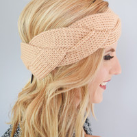 Braided Knit Headband Taupe