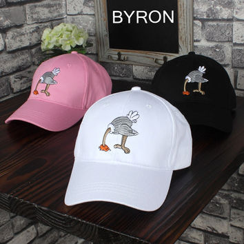Ostrich Embroidered Baseball Cap Hat