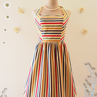 RAINBOW SUNSHINE : Retro stripe dress whimsical sundress colorful vintage inspired dress summer dress party dress rainbow party dress -xs-xl