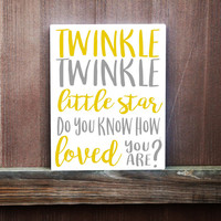 Nursery Wall Art - Twinkle Twinkle Little Star Hand Painted Canvas - Nursery Decor - Baby Shower Gift - Baby Gift - Baby Boy - Baby Girl