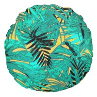 Tropical green leaves texture round pillow