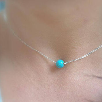 turquoise bead necklace, single bead necklace, tiny gemstone necklace, sterling silver dainty necklace, blue turquoise