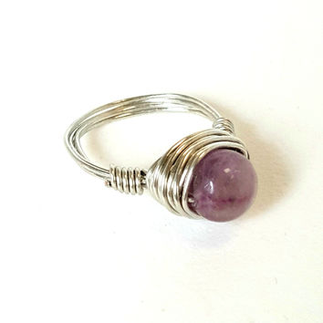 Artisan Amethyst Ring Hand Wire Wrapped Beachy