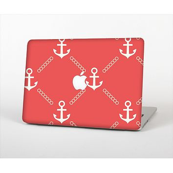 "The Coral & White Vintage Solid Color Anchor Linked Skin Set for the Apple MacBook Pro 13"" with Retina Display"