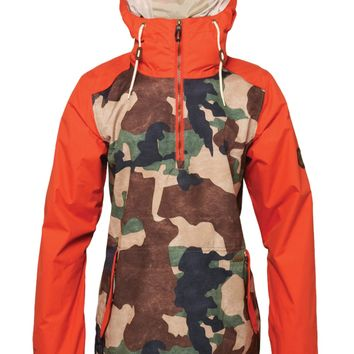 686 Women's Parklan Savanna Anorak (Hunter Green Camo) Snowboard Jackets Women's Jackets