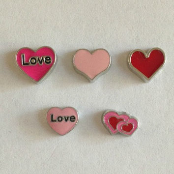 Floating charms for living memory lockets -hot pink heart Love, pink heart, red heart, pink heart Love, double hearts - Valentine's Day