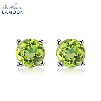 LAMOON Stud Earrings For Women 925 Sterling Silver Fine Jewelry Simple Design Natural Green Peridot Party Earring Brincos EI055