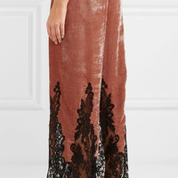 Rosamosario - Coprimi d'Amore lace-paneled silk-velvet pajama pants