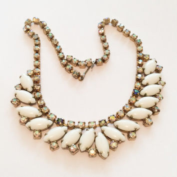 Milk Glass Necklace with Irridescent Rhinestones Vintage Jewelry
