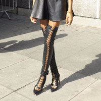 Dionis Black Leather Lace Up Thigh High Boots