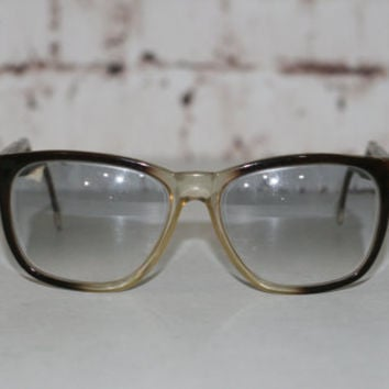 70s Eyeglasses Wayfarer Two Tone Brown Clear Eyewear Eye Glass Frames Glasses Hipster Retro 80s Mens Unisex