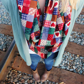 Favorite Quilt Patchwork Design Women's Infinity Scarf, Multi-colored Patch Squares - Hearts, Plaid, Polka Dot, Flowers