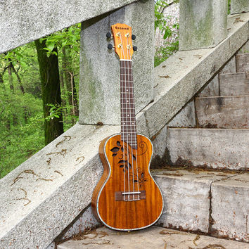 "23"" Concert Ukulele Acoustic Guitar Handcraft KOA Hollow Top 4string music instrument Hawaii ukelele mini Guitarra Free Shipping"