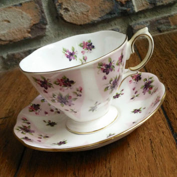 Vintage Royal Albert Debutante series Serenity pink floral tea cup, bone china english tea set, dainty teacup