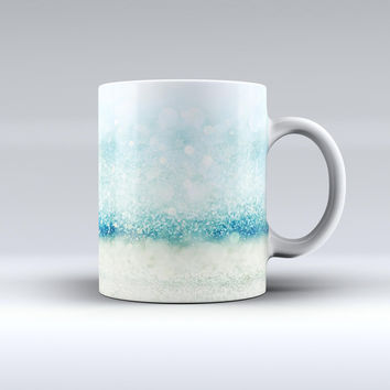 The Teal and Aqua Unfocused Sparkling Orbs ink-Fuzed Ceramic Coffee Mug